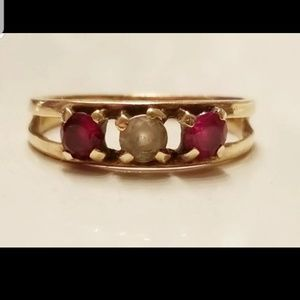 Vintage 10K Garnet, Diamond & Ruby Ring